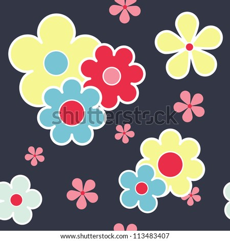 Abstract color vintage floral seamless texture pattern