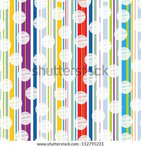 Abstract colored background vector with colored vertical stripes and polka dot..