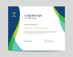 Abstract Colored Blue and Green Waves Certificate Design