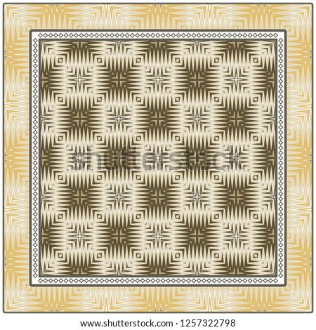 Abstract Colored Geometric Pattern. Ornament With Decorative Frame, Border. Vector Illustration. Line Art, Lace, Background #1257322798