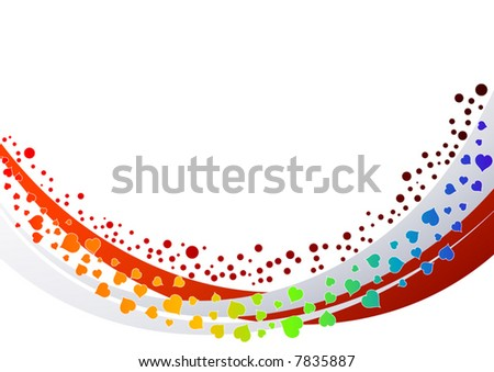 Abstract colored hearts background vector illustration.