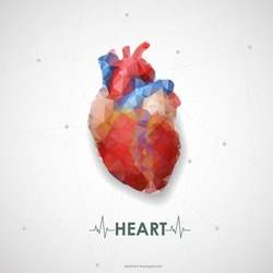 Abstract colored polygonal triangular human heart. Vector illustration