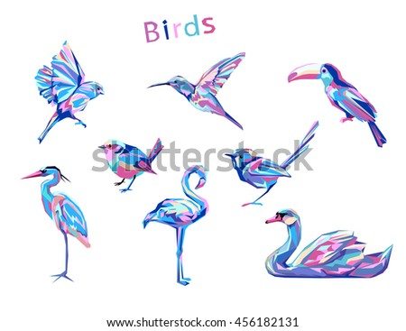 abstract colored set birds