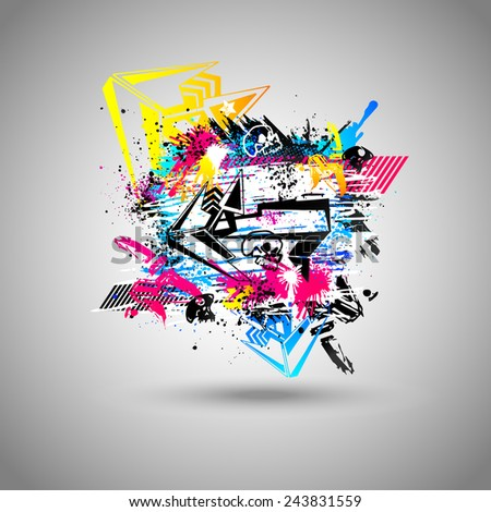 Abstract colored vector background with grunge, graffiti design with arrow and skull, modern 3d element with splash