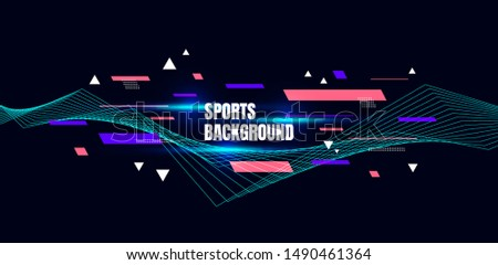Abstract colorful art for sports background. Dynamic particles. Modern science and technology element with line design. Vector illustration