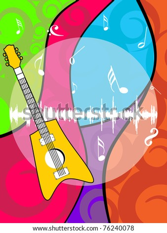 abstract colorful artwork, musical notes background with isolated guitar