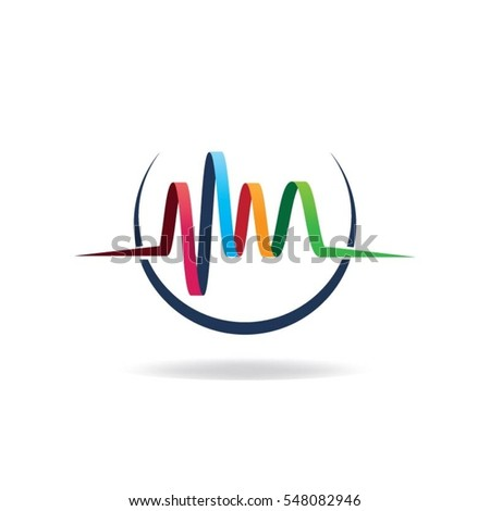 Abstract Colorful Audio Wave  Logo Sign Symbol Icon