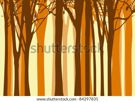 Abstract colorful autumn tree on yellow background