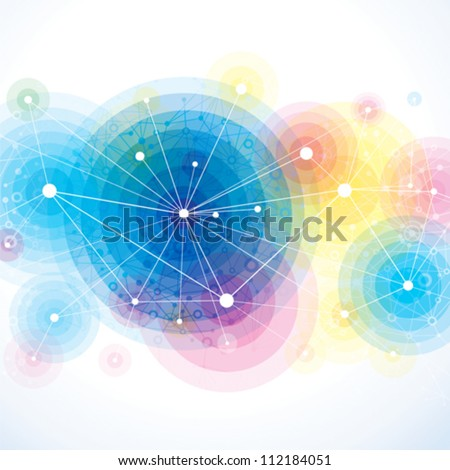 Abstract colorful background of molecule.