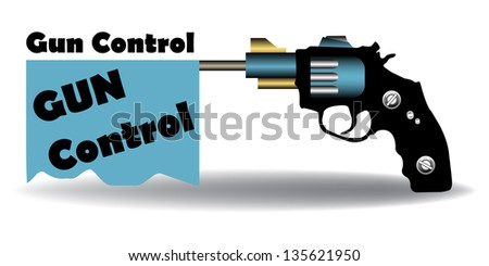 Abstract colorful background with a blue flag with the text gun control coming out from a handgun's barrel