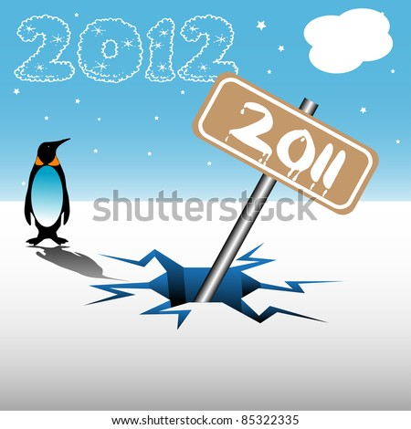 Abstract colorful background with a penguin watching a plate on which is written the number 2011 sinking under ice in a crack. Passing into the next year concept