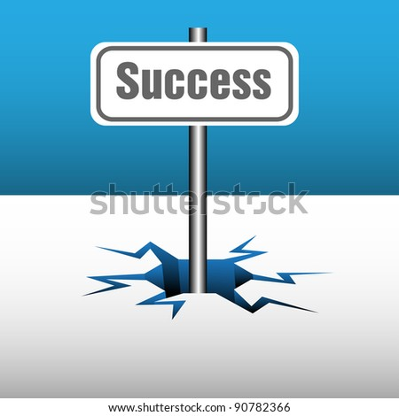 Abstract colorful background with a plate on which is written the word success coming out from an ice crack. Success business theme