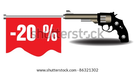 Abstract colorful background with a revolver shooting out a red flag on which is written the text twenty percent off. Reduction concept