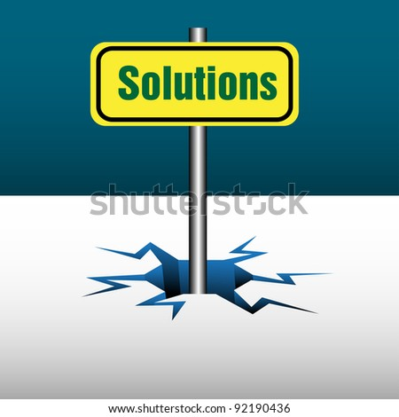 Abstract colorful background with a yellow plate on which is written the word solutions coming out from an ice crack. Business solutions concept