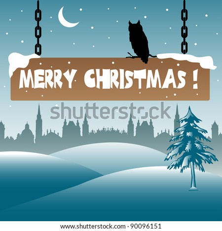 Abstract colorful background with an owl standing on a wooden plate on which is written the text Merry Christmas