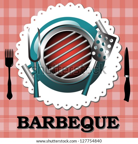 Abstract colorful background with barbecue grill on a table with fork and knife