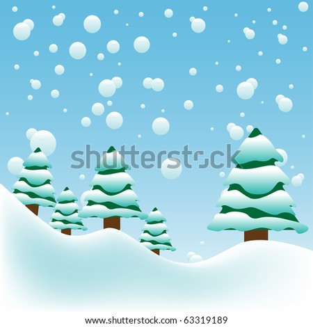 Abstract colorful background with big snowflakes falling over fir trees. Winter background
