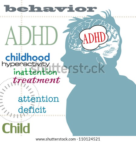 Abstract colorful background with child profile in blue and a brain shape on which is written the text ADHD. Attention deficit hyperactivity disorder theme