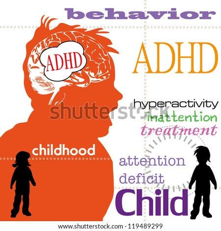 Abstract colorful background with children silhouettes and a few words related to attention deficit hyperactivity disorder