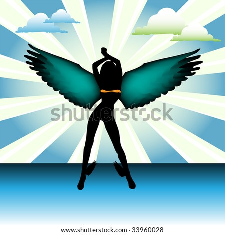 Abstract colorful background with clouds and angel silhouette with colored wings