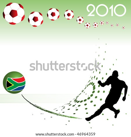 Abstract colorful background with football player kicking a colorful sphere. Football world cup theme