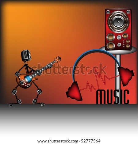 Abstract colorful background with funny man made from microphones singing at the electric guitar