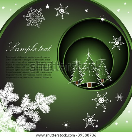 Abstract colorful background with green circles, small fir trees, white fir branch and various snowflakes - stock vector