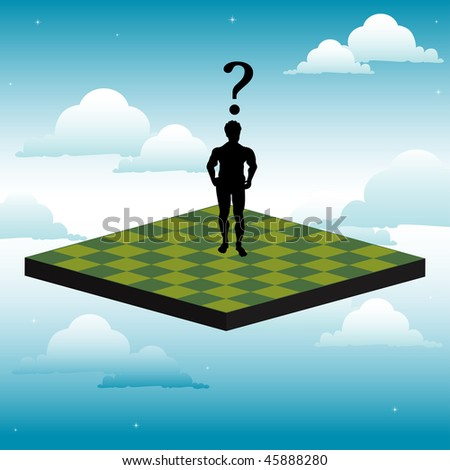 Abstract colorful background with human silhouette standing alone on a chessboard positioned high above in the sky between clouds. Meditation concept