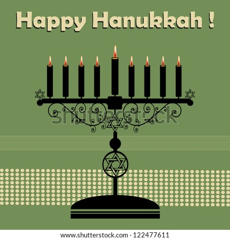 Abstract colorful background with jewish menorah having nine candles and the text Happy Hanukkah written above the candle holder