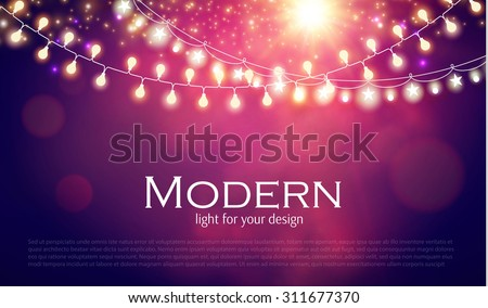 Abstract colorful background with light garland. Vector illustration