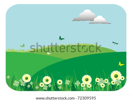 Abstract colorful background with low green hills, a few butterflies, clouds and beautiful flowers. Spring theme