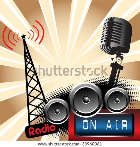 Abstract colorful background with microphone shape, loudspeakers and radio tower shape. Radio concept