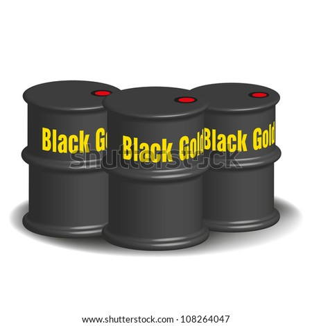 Abstract colorful background with oil barrels on which is written the text black gold - stock vector