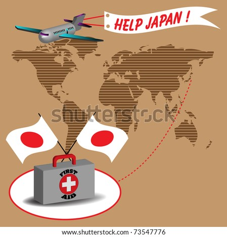 Abstract colorful background with plane pulling a banner on which is written help Japan
