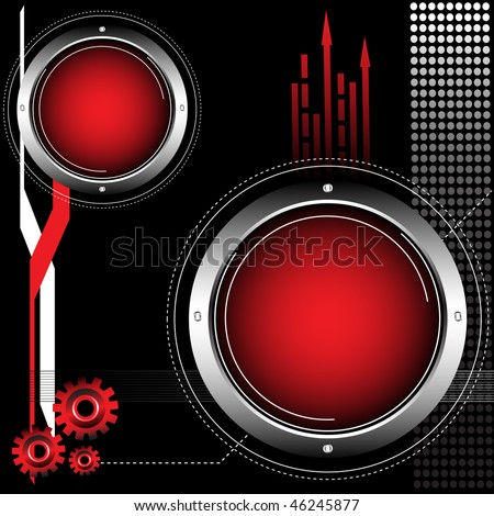 Abstract colorful background with red rounded metallic objects and small gears. Technology background