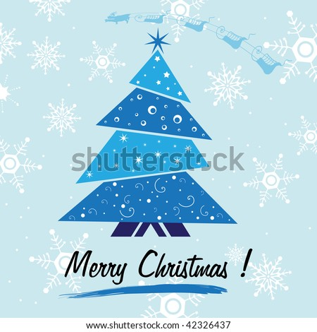 Abstract colorful background with small blue Christmas tree, white snowflakes and the text Merry Christmas written under the tree. Christmas concept