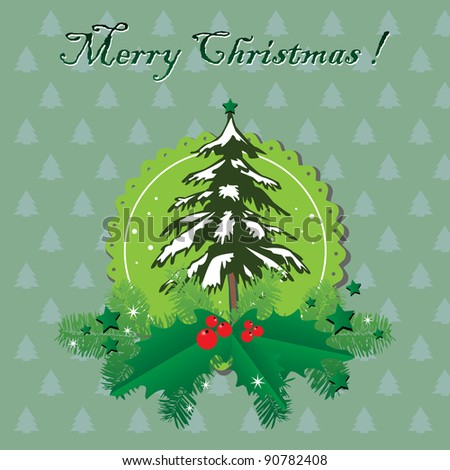 Abstract colorful background with snowy fir tree, fir branches, mistletoe and green stars. Christmas greeting