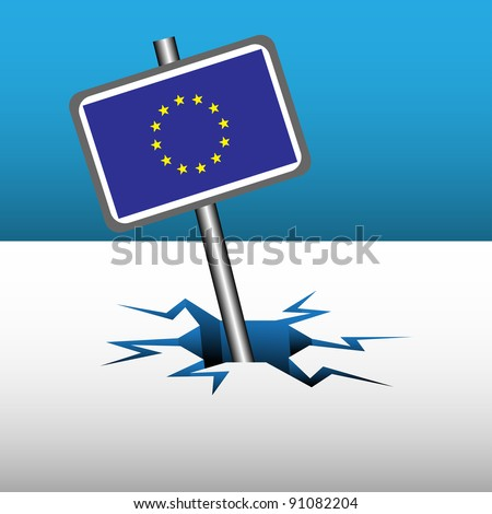 Abstract colorful background with the sign of European Union sinking into an ice crack. Europe crisis theme