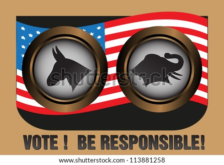 Abstract colorful background with the two major party symbols in United States, the Democratic and the Republican Party. Election theme