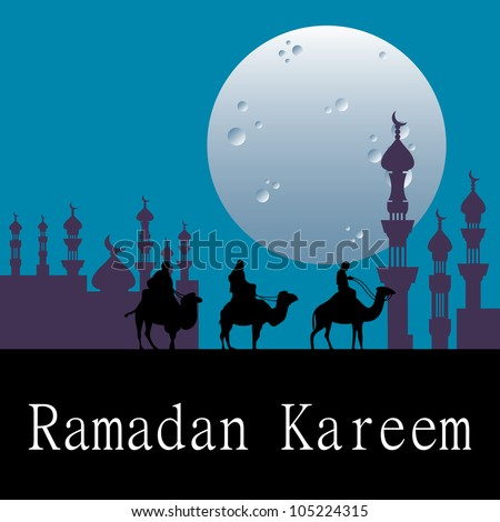 Abstract colorful background with three people riding camels during the night under full moon. Ramadan Kareem card concept #105224315