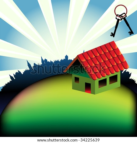 Abstract colorful background with two key shapes and a small house with red roof. House for sale