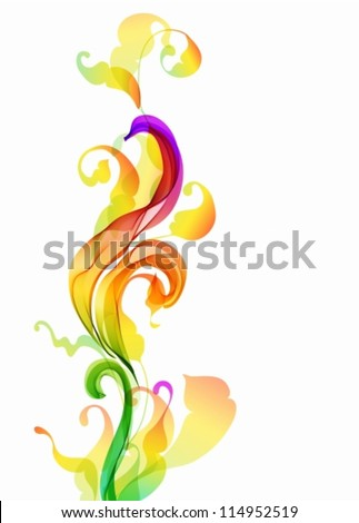 Abstract colorful background with wave and leaf, illustration, vector