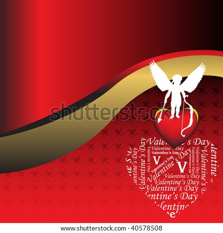 Abstract colorful background with white cupid shape holding an arrow and standing on a red heart. Valentine's Day theme