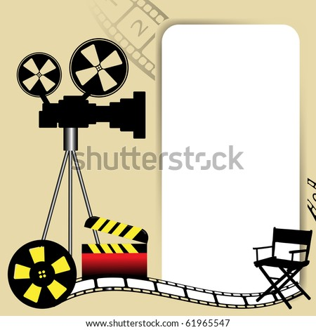 Abstract colorful background with white frame, movie camera, film reel, director chair and clapboard. Cinema concept