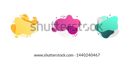 Abstract colorful blobs set. Yellow, cyan, pink, purple hatched shapes, stars and dots. Flowing liquid, layers, dynamical forms. Vector illustration for banner, poster, logo, cover design