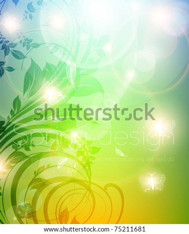 Abstract colorful bright spring or summer floral background with flowers for design. eps 10.
