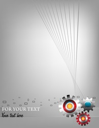 Abstract colorful business template with three colored metallic gears