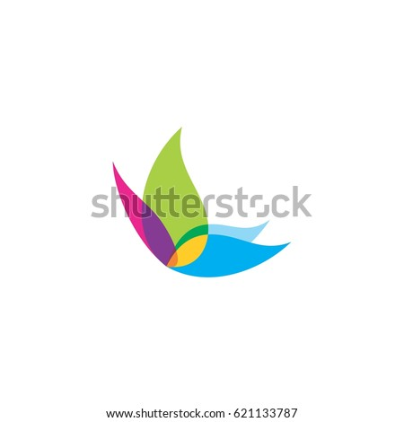 abstract colorful butterfly logo