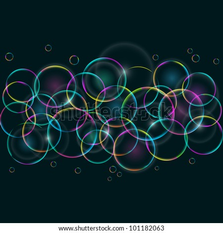 Abstract Colorful Card with Round Bubbles on Dark Background. Vector EPS10 Background