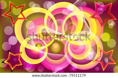 Abstract colorful circle & star design. Vector illustration.